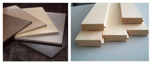 Керамогранитная плитка и шпунтованная доска из лиственницы