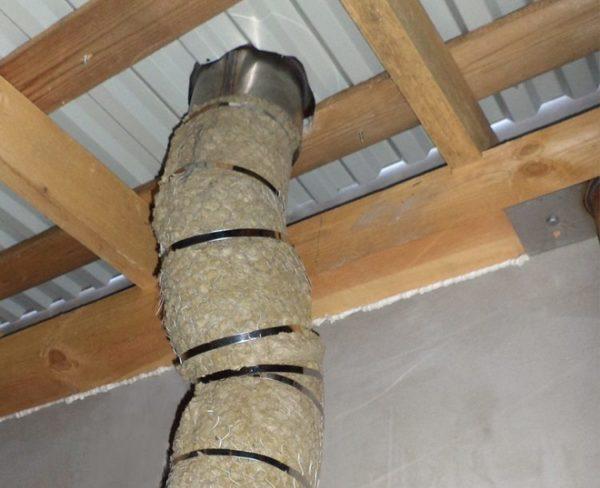 Обмотка трубы негорючим теплоизоляционным материалом