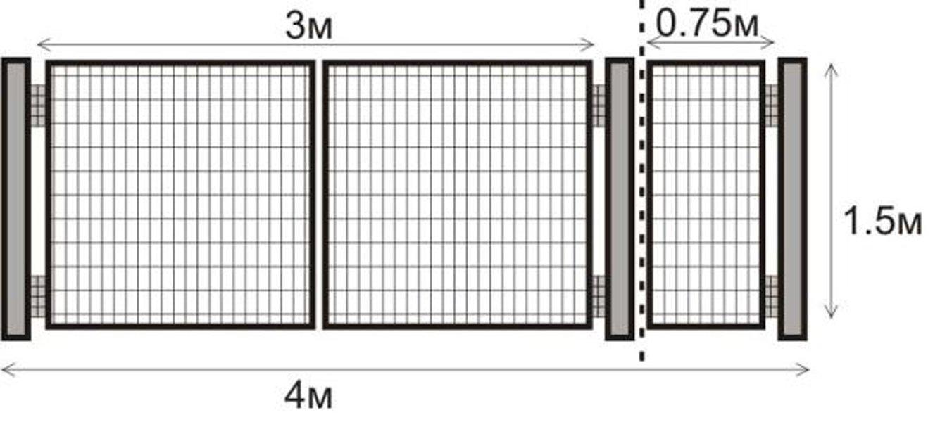Как сделать ворота и калитку из сетка 3 d своими руками