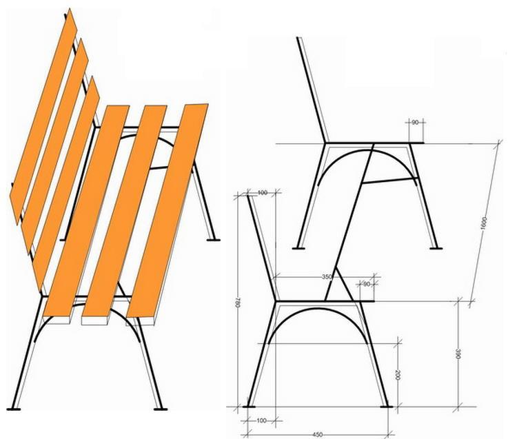 Как сделать скамейку из металла чертежи