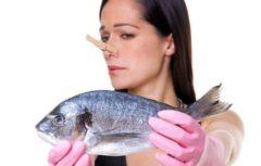 Девушка с прищепкой на носу держит рыбу