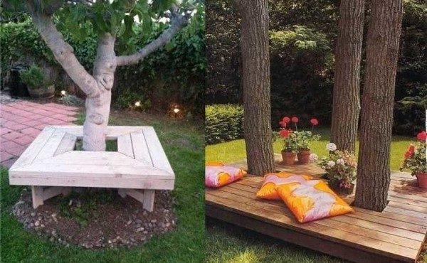 Лежанка вокруг дерева