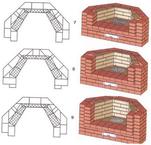 Наращивание стен печи-камина в 7,8 и 9 ряду