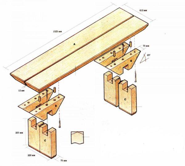 Схема сбора скамейки