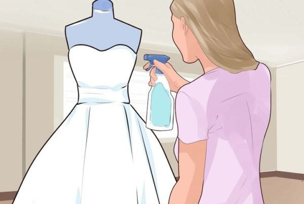 Processing the wedding dress with soapy water