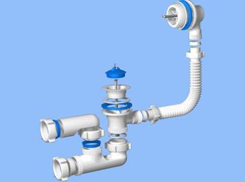Схема устройства и разборки сифона под ванной