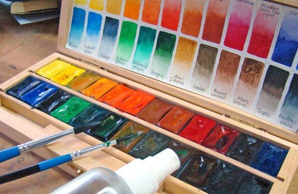 Акварельные краски, кисти