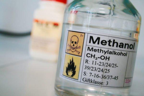 A bottle of methanol