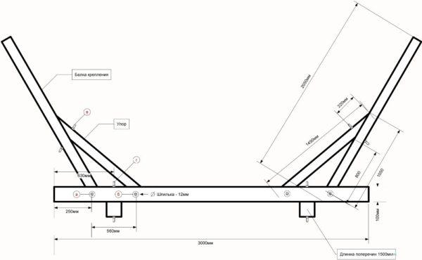 chertezh-karkasa-600x370 Как сделать игрушечный гамак из ниток. Гамак своими руками из ткани и веревки