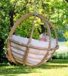 Деревянный подвесной гамак-кресло