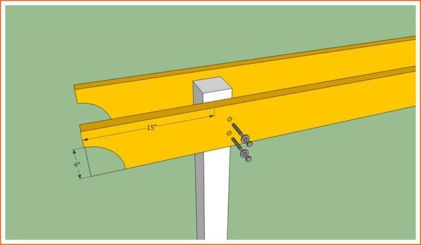 Крепление опорных балок на столбы