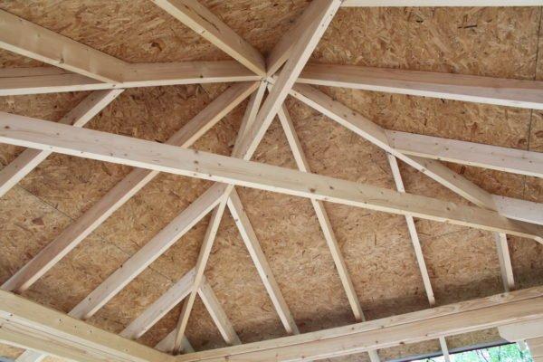 Крыша домика внутри с перемычками