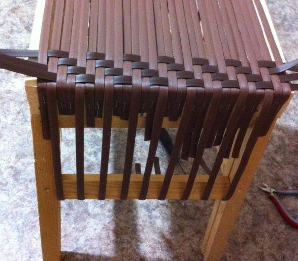 Оплетение сидения табурета