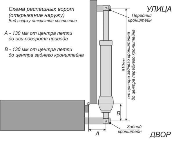 Схема монтажа привода