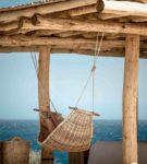 Подвесной плетёный гамак из ротанга