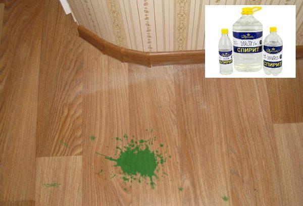 Пятно зелёной краски на линолеуме