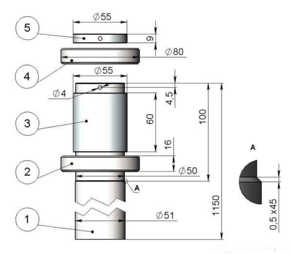 Размеры деталей собранной оси