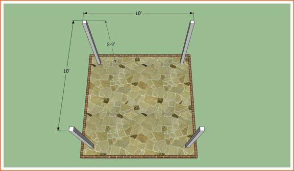 Схема монтажа столбов для деревянной перголы