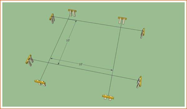 Схема разметки периметра перголы
