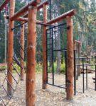Комбинированный гимнастический комплекс дерево + металл