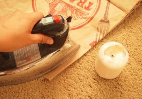 удалить пятно с ковра утюгом
