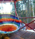 Вязаный подвесной гамак-кресло