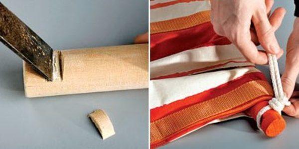 Вырезаем выемки в брусках и крепим верёвки