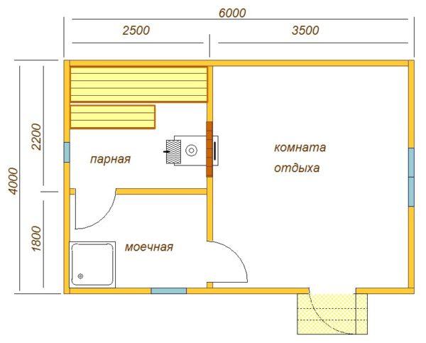 Схема бани размером 6х4 м