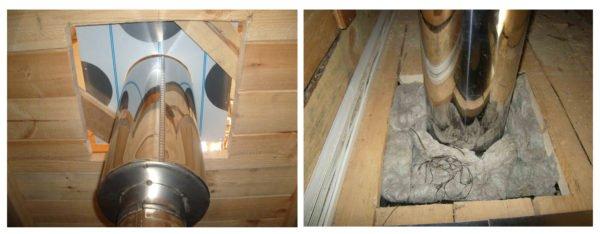 Место вывода дымохода через потолок