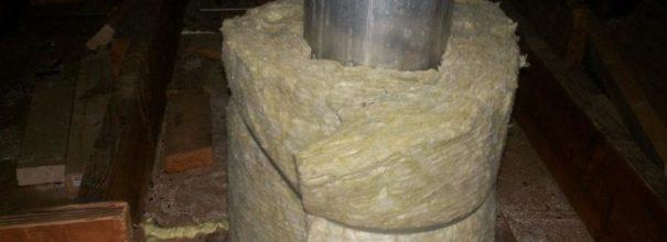 Утепление стального дымохода базальтовой ватой