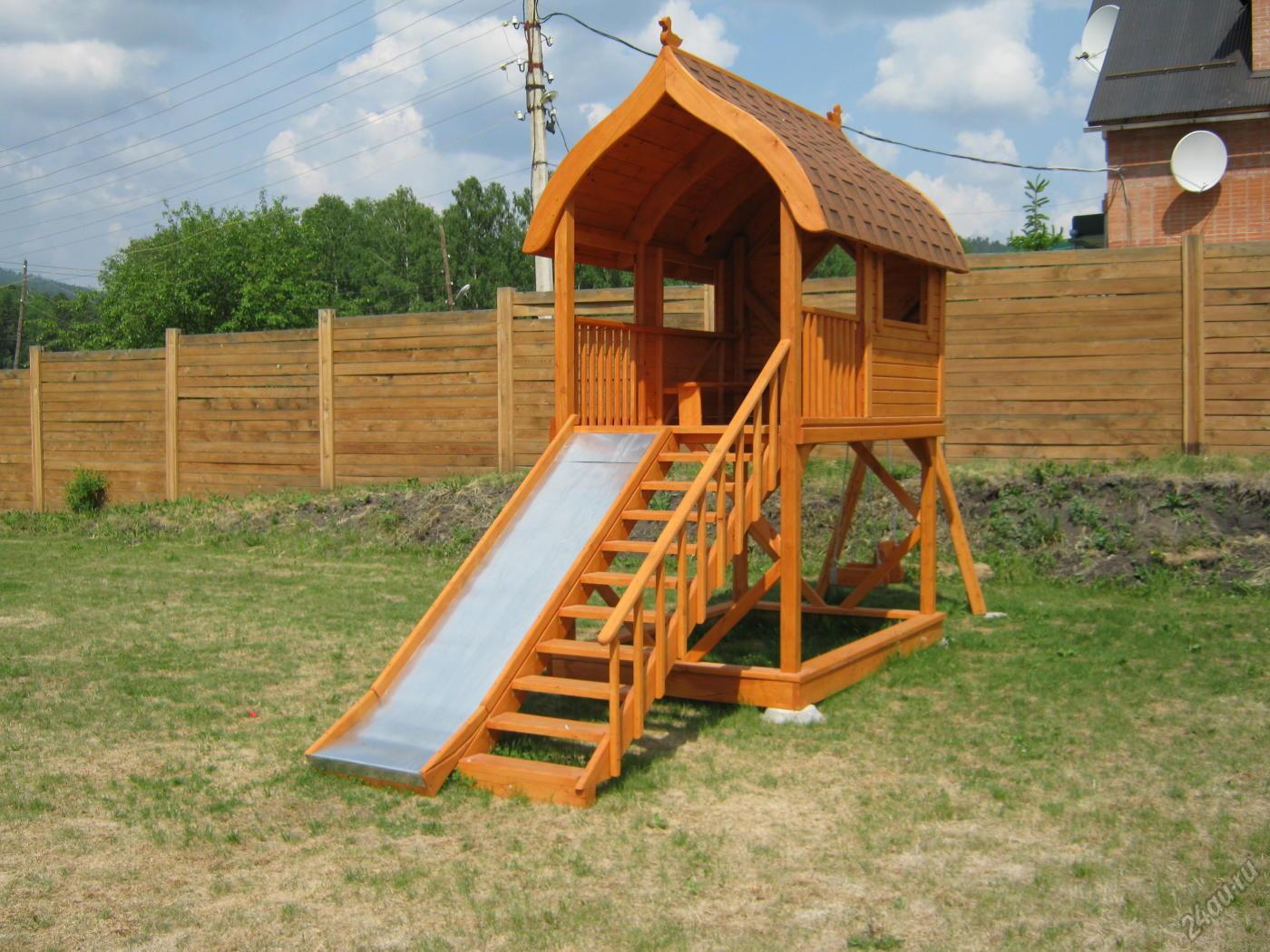 Как построить детскую деревянную горку своими руками 64