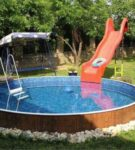 Углублённый деревянный каркасный бассейн