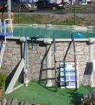Каркасный бассейн с лестницей и системой фильтрации