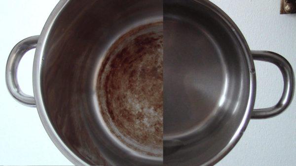 Кастрюля до и после чистки