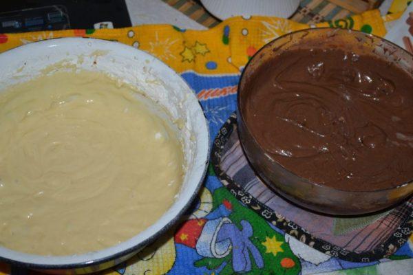 Два вида теста для торта Зебра