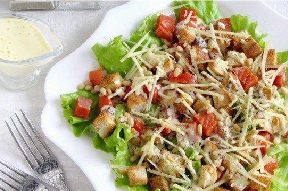 распечатать рецепт салата цезарь с курицей