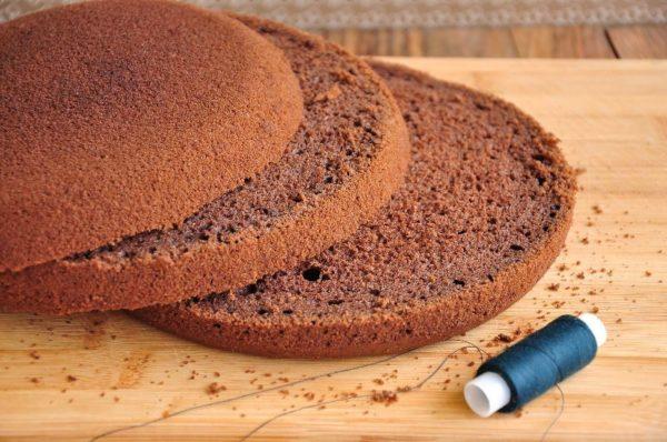 Три коржа для торта и нитка