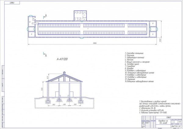 Схема коровника на 124 скотоместа