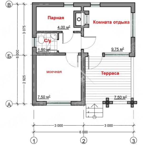 Планировка бани размером 6 х 6 м