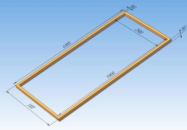 Аксонометрическая проекция фундамента из бруса с указанием исполнительных размеров
