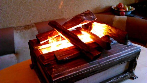 Имитация живого огня с участием парогенератора