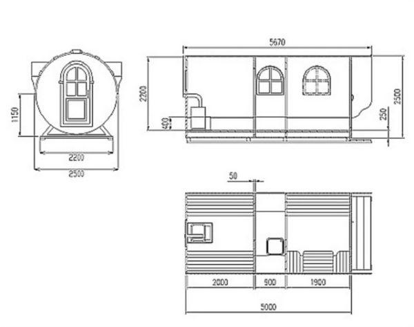 Схема бани-бочки