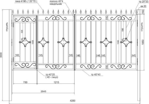 Схема распашных кованых ворот