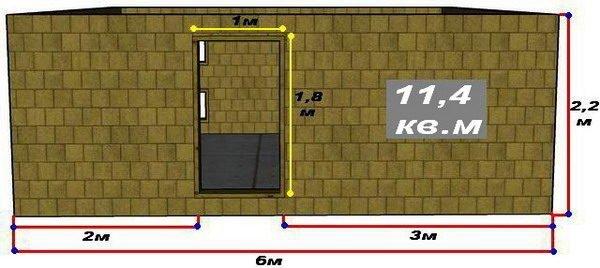 Схема стены А с размерами самой стены и дверного проёма