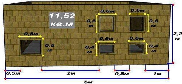 Схема стены Б с размерами стены, а также оконных проёмов