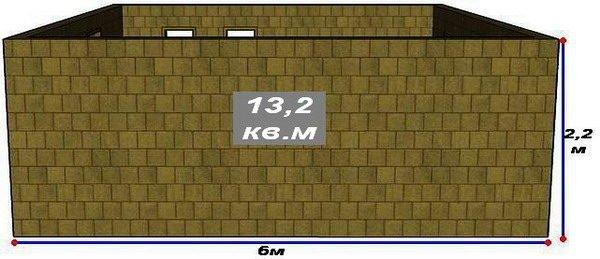Схема глухой стены Г с размерами
