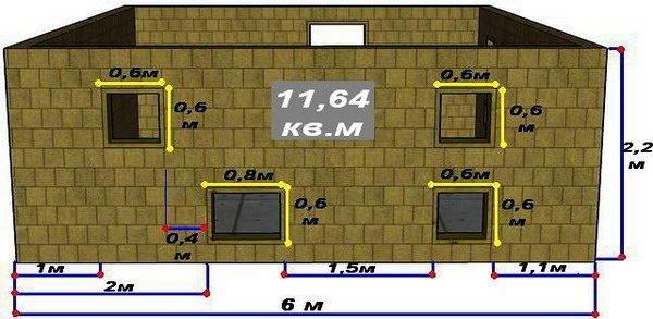 Схема стены В с размерами стены и оконных проёмов
