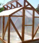 Деревянная теплица с необычной крышей