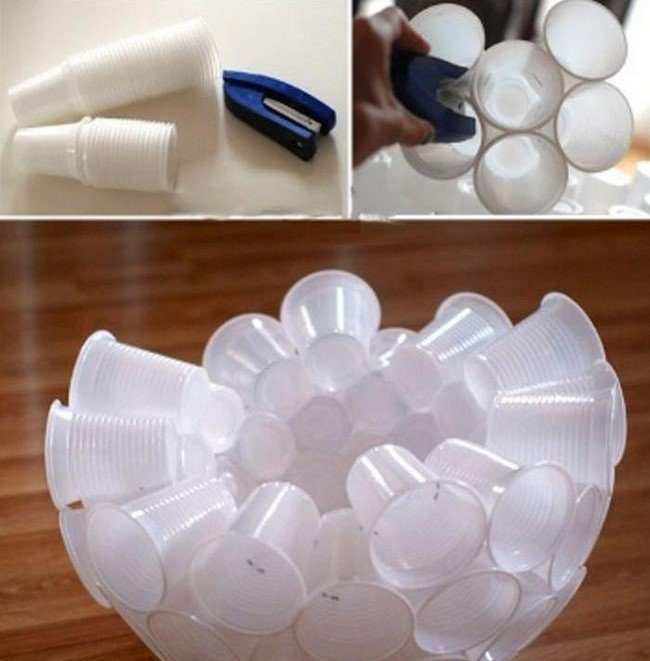 Из пластиковых стаканчиков своими руками снеговик 998