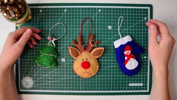 Фетровые игрушки для елки